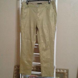 Ashlet Stewart Shimmery Gold Stretch Jean Size 18W